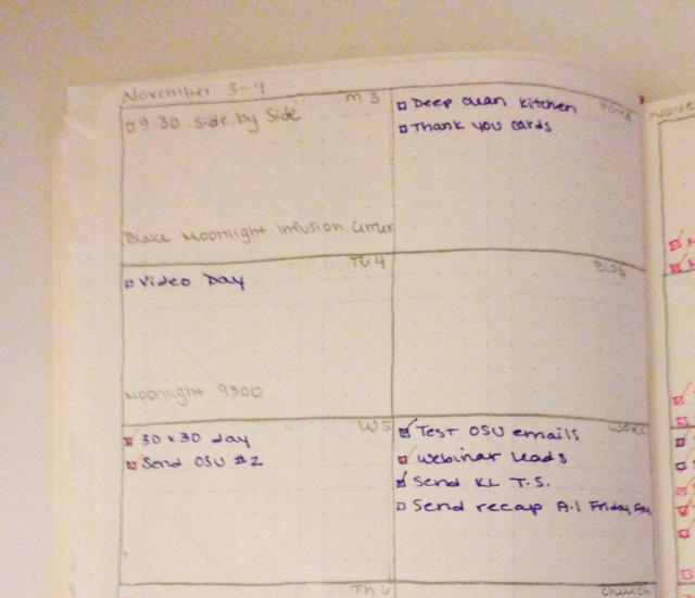 Close up of the new weekly layout for the DIY Planner Moleskine Hack
