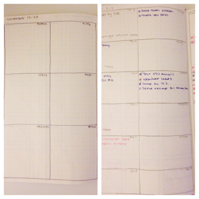Old vs. New Weekly Layout of the DIY Planner Moleskine Hack