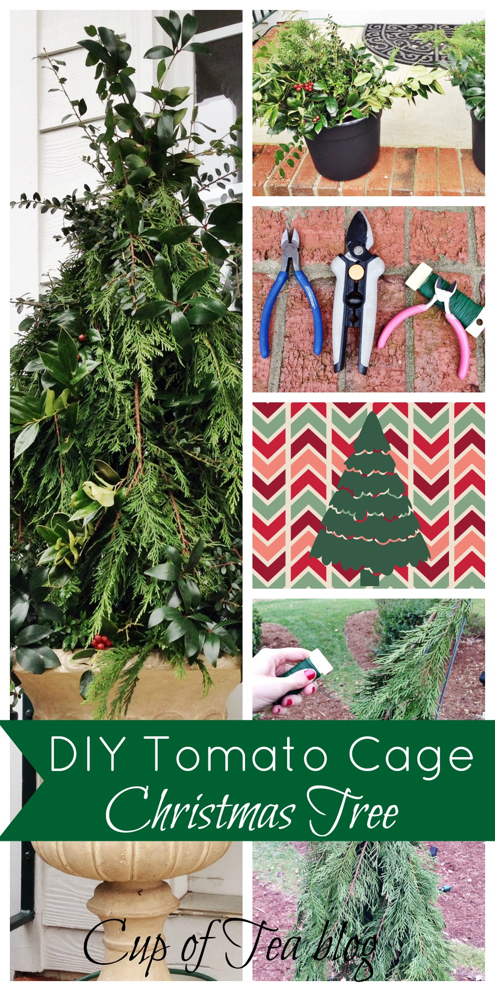diy tomato cage christmas tree for your front porch from the cup of tea blog - Tomato Cage Christmas Decorations